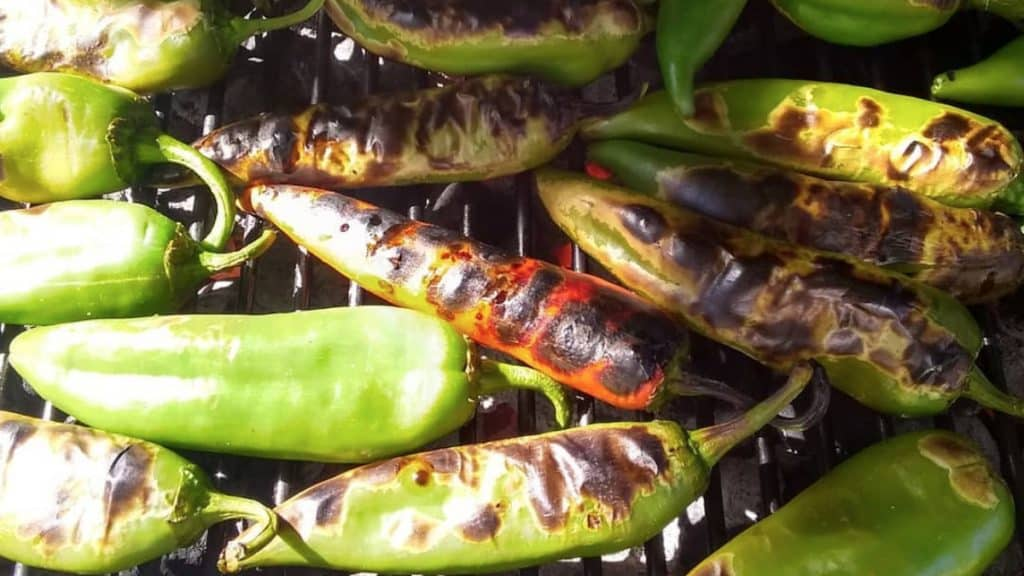 green chiles roasting